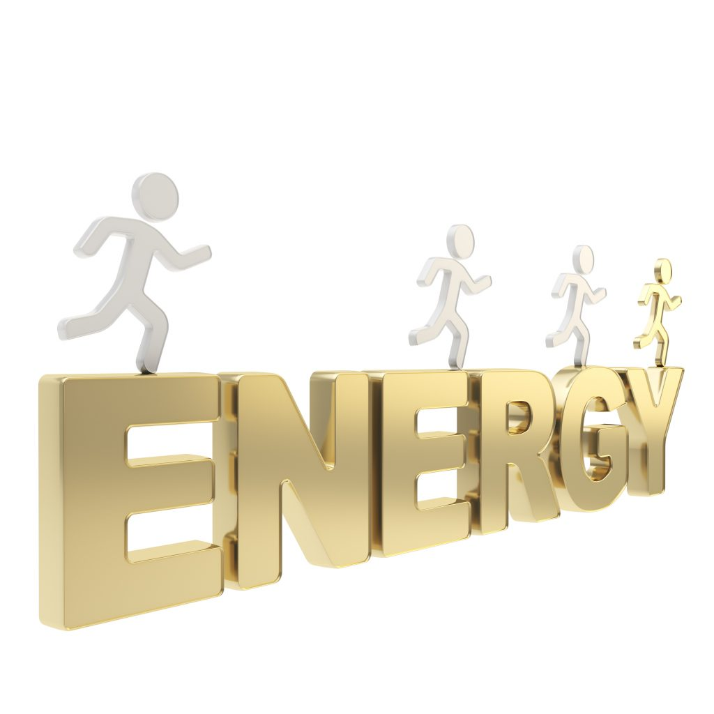 Human running symbolic figures over the word Energy