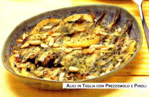 Ricetta alici o acciughe al forno con pinoli olive for Cucinare dietetico